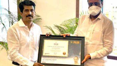 Ajit Pawar, Deputy CM of Maharashtra, gets felicitated by Deepak Harke, National secretary WBR India with certificate of Commitment (Switzerland)